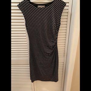 Loft Cotton Black and White Striped Dress